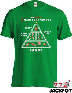 Elf The Movie An Elf/'s Four Main Food Groups Adult T Shirt