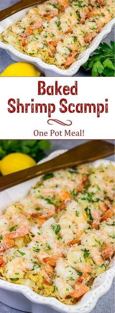 No need to pull out multiple pots and pans for this Baked Shrimp Scampi. The entire dish is baked in the oven! No need to pull out multiple pots and pans for this Baked Shrimp Scampi. The entire dish is baked in the oven! Shrimp Dishes, Fish Dishes, Pasta Dishes, Shrimp Meals, Seafood Meals, Main Dishes, Seafood Bake, Seafood Dinner, Seafood Pasta