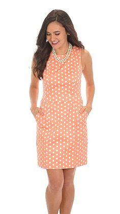 Thats Dot-ling Dress, Peach :: NEW ARRIVALS :: The Blue Door Boutique