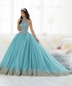 Beaded High-Neck Quinceanera Dress by House of Wu 26881