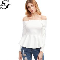 Sheinside Women Blouse Long Sleeve Elegant Blouse White Tops New Arrival White Scallop Off The Shoulder Peplum Top Blouse