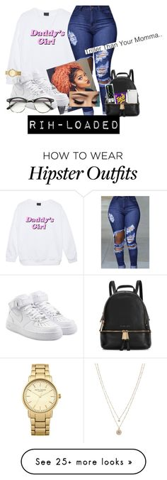 """..."" by rih-loaded on Polyvore featuring NIKE, Michael Kors, Native Union, Topshop and LC Lauren Conrad"