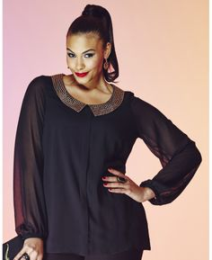 Stud Collar Blouse at Simply Be