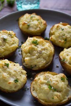 Twice Baked Breakfast Potatoes with Eggs, Feta & Artichokes