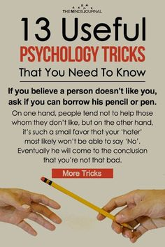 13 Useful Psychology Tricks That You Need To Know These will positively affect your communication skills and make your life easier in some way. 13 Useful Psychology Tricks That You Need To Know Psychology Quotes, Psychology Careers, Educational Psychology, Psychology Facts Personality Types, Behavioral Psychology, Color Psychology, Health Psychology, Psychology Experiments, Relationship Psychology