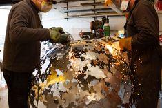 Making a brass sphere sculpture in my workshop Steel Sculpture, Garden Sculpture, David Murphy, Hydrangea Flower, Workshop, Brass, Atelier, Copper
