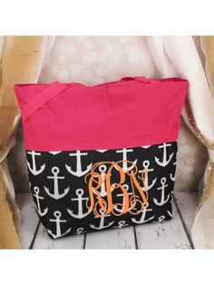 www.ewam.com Market Shopping Tote in Black and White Anchor and Pink