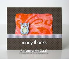 Many Thanks Owl Card by Anne Gaal of Gaal Creative at http://www.gaalcreative.com - Feel free to re-pin! ♥
