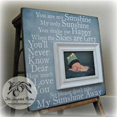 YOU Are My SUNSHINE Personalized Baby Picture Frame 16x16 Dedication Baptism Christening First Birthday Gift Godparents. $75.00, via Etsy.