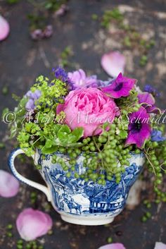 cup of flowers at a Tea.