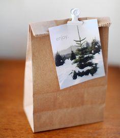 photo card / white clip / kraft bag christmas