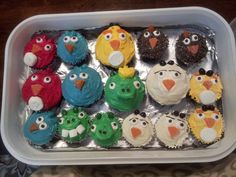Angry Bird Cupcakes for my Hubby's Birthday    -idea and how to from a few sites. One site is http://thecraftingchicks.com/2011/03/angry-birds-cupcakes.html