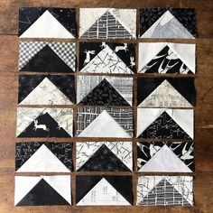 up my first batch of black & white flying geese last night. This is my first project and so far it's pretty dreamy. All…Sewed up my first batch of black & white flying geese last night. This is my first project and so far it's pretty dreamy. Applique Patterns, Applique Quilts, Quilt Patterns, Longarm Quilting, Quilting Projects, Sewing Projects, Black And White Quilts, Black White, Half Square Triangle Quilts Pattern