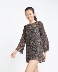 Robe paysanne à imprimé floral @zaraofficial -onaimedamour