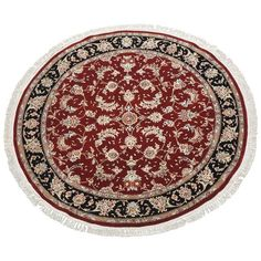 Round Burgundy Persian Tabriz Area Rug (51,075 MXN) ❤ liked on Polyvore featuring home, rugs, persian rugs, red, hand-knotted rug, red area rugs, colored rugs, red rug and hand knotted rugs