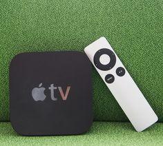Apple's third-generation Apple TV set-top box with aluminum remote control