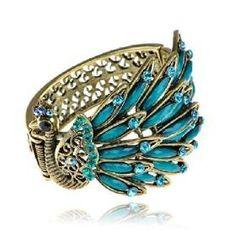 Blue Crystal Peacock Bracelet   $14.99 www.allthingspeacock.com - Peacock Bracelets