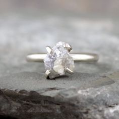 Raw+Diamond+Ring++Sterling+Silver++Engagement+Ring++by+ASecondTime,+$749.00