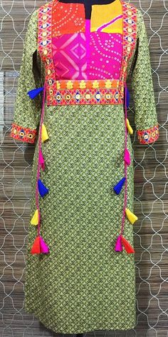 Straight from the canvas of Rajasthan...anokherang's new straight long patchwork Kurti's colors speak louder than words... live beyond the lines.. live life in