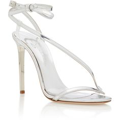 Oscar de la Renta Romy Metallic Leather Sandals (£910) ❤ liked on Polyvore featuring shoes, sandals, silver, metallic shoes, strap sandals, leather bow sandals, bow sandals and metallic sandals