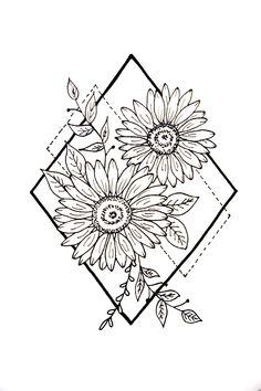 Sunflower Drawing, Sunflower Tattoos, Sunflower Tattoo Design, Sunflower Art, White Sunflower, Real Tattoo, Tatoo Art, Tattoo Drawings, Cage Tattoos