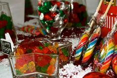 Retro 80's/90's Corporate holiday party sweets table #christmas #sweetstable #80's #retro #corporateevent #red #white