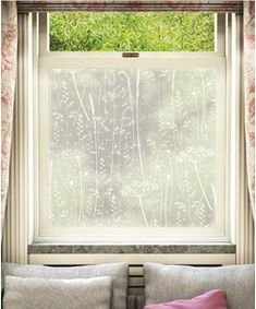Paper Meadow window film by Hannah Nunn, only available at The Window Film Company. White print on frosted window film, for privacy & style at home Frosted Window Film, Home Curtains, Window Films, Light Crafts, Window Design, Of Wallpaper, White Ink, Lamp Design, Weekend Is Over