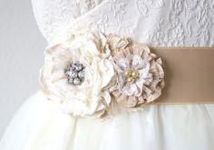 Vintage Pearl and Rhinestone Floral Bridal Sash - Ivory, Cream and Tan Fabric Flower Belt