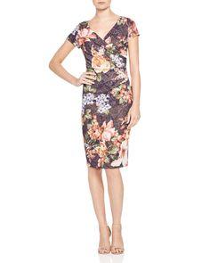 Adrianna Papell Cap Sleeve Floral Print Dress
