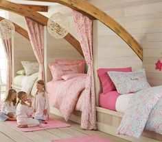 Fit 3 kids into a small room by having custom-built beds along a wall. Curtains give privacy and softens the structure. Beautiful! www.homeology.co.za