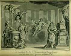 Drawing by Antoine Brice engraved by Cardon, Consolation of the Austrian Monarchy on the death of emperor Leopold II