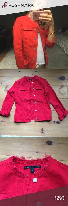J brand X Christopher Kane red denim jacket Red denim jacket with greater mock-collar 😍🌹 J Brand Jackets & Coats Jean Jackets