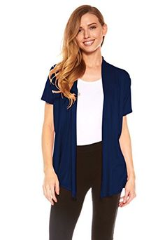 Red Hanger Womens Basic Short Sleeve Draped Open Front Cardigan, Solid Colors By Red Hanger