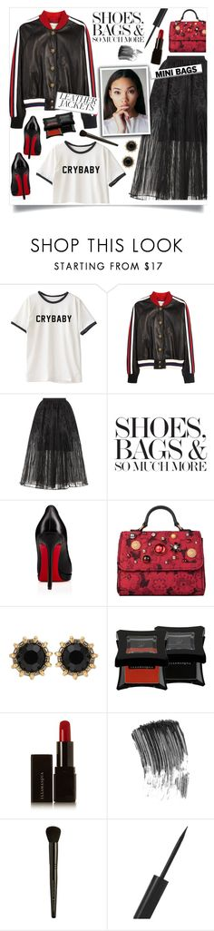 """Leather Jacket!"" by diane1234 ❤ liked on Polyvore featuring Gucci, Elie Saab, Christian Louboutin, Dolce&Gabbana and Illamasqua"