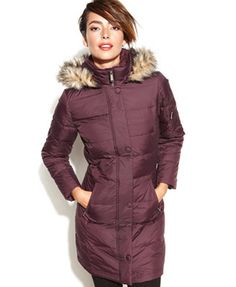 DKNY Petite Hooded Faux-Fur-Trim Quilted Long-Length Down Coat