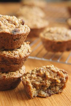 Carrot Raisin Oatmeal Muffins. These dairy free carrot raisin oatmeal muffins contain no added sugars and are dense, chewy and wholesome.  #Food #Recipe #Healthy #DairyFree