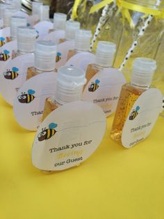 """What Will It Bee"" themed party favors. I bought inexpensive hand sanitizers from Bath & Body Works and added a cute tag. ""Thanks for Beeing our guest""."