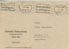 Postscheckamt Berlin NW (Ost) 06-02-1958 Maschinenstempel 'Das Postsparbuch dein Begleiter auf allen Reisen!' und 'Spare bei der Deutschen Post! Ein- und Ruckzahlungen auf jedem Postamt'