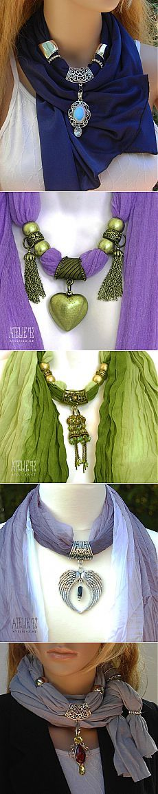This appeals to me on so many levels. A selection of ideas. Scarf Necklace, Scarf Jewelry, Diy Necklace, Beaded Jewelry, Bijoux Shabby Chic, Diy Scarf, Bijoux Diy, Long Scarf, Bead Crochet