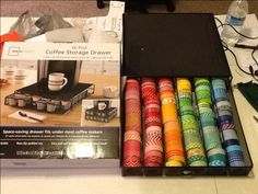 Washi tape storage from coffee 36 pod drawer. Walmart for $15, holds around 120 rolls, give or take!