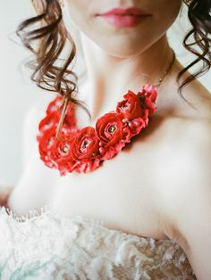 Romantic and Wintry Red Necklace, red wedding accessories, bridal necklace