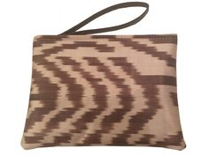 Small Ikat Pouch - Cream And Brown Color Ikat Clutch Bag - Zipper Bag - Makeup Bag - Money Bag #bags-and-purses #black-pouch #clutch-bag #clutch-purse #document-pouch #handbag #ikat-bag #lady-bag #money-bag #passport-case #pen-case #pencil-case #pink-pouch #pouch-bag #silk-ikat #small-clutch #small-pouch #small-purse #tulip-design #wallet #waterproof #waterproof-bag #woman-purse #woman-wallet