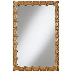 "Darley Scalloped 36"" High Gold Wall Mirror"