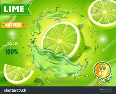 Lime juice poster advertising design. Vector mojito cocktail or citrus tonic #Sponsored , #ad, #advertising#design#poster#Lime