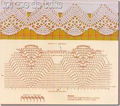 barra 2 Crochet Borders, Crochet Diagram, Crochet Chart, Crochet Stitches, Crochet Patterns, Crochet Dollies, Crochet Lace, Crochet Curtains, Doilies