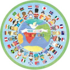 Oopsy Daisy One World to Explore Wall Mural Jill Mcdonald, Around The World Theme, Around The World Crafts For Kids, Elephant Canvas, Thinking Day, Little Elephant, Classroom Themes, Show And Tell, World Cultures