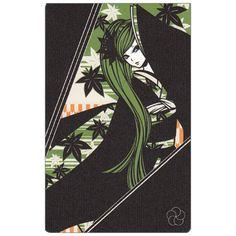 ポストカード【ワカマツカオリ】紅葉 ロングの女の子 グリーン