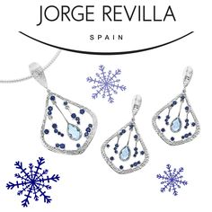 Blue topaz and blue sapphire with textured sterling silver from Jorge Revilla