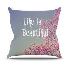 Kess InHouse Rachel Burbee Life is Beautiful Indoor/Outdoor Throw Pillow, Pink