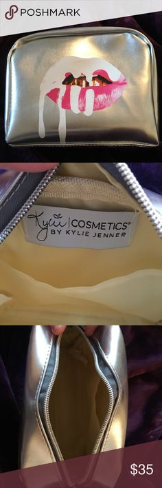 Kylie Jenner Limited Edition Birthday Makeup Bag A medium-sized shiny, metallic makeup bag perfect for storing and carrying all of your favorite Kylie cosmetics and any other products. This makeup bag is in the limited edition birthday silver color! Kylie Cosmetics Bags Travel Bags